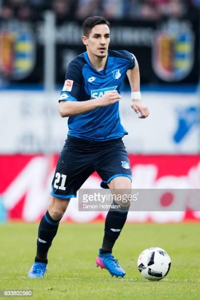 Benjamin Huebner of Hoffenheim controls the ball during the Bundesliga match between TSG 1899 Hoffenheim and 1 FSV Mainz 05 at Wirsol...