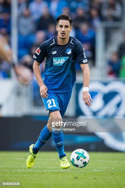 Benjamin Huebner of Hoffenheim in action during the Bundesliga match between TSG 1899 Hoffenheim and Hertha BSC at Wirsol RheinNeckarArena on...