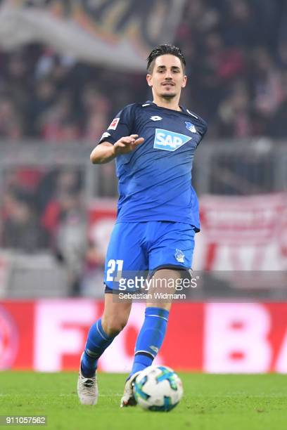 Benjamin Huebner  of Hoffenheim plays the ball during the Bundesliga match between FC Bayern Muenchen and TSG 1899 Hoffenheim at Allianz Arena on...