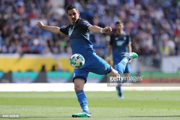 Benjamin Huebner of Hoffenheim scores a goal which was later disallowed during the Bundesliga match between TSG 1899 Hoffenheim and Hamburger SV at...