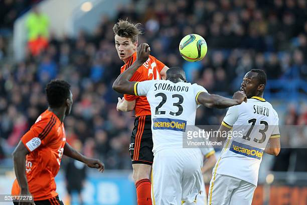 Benjamin Jeannot of Lorient during the French Ligue 1 match between Fc Lorient and Lille OSC at Stade du Moustoir on April 30, 2016 in Lorient,...