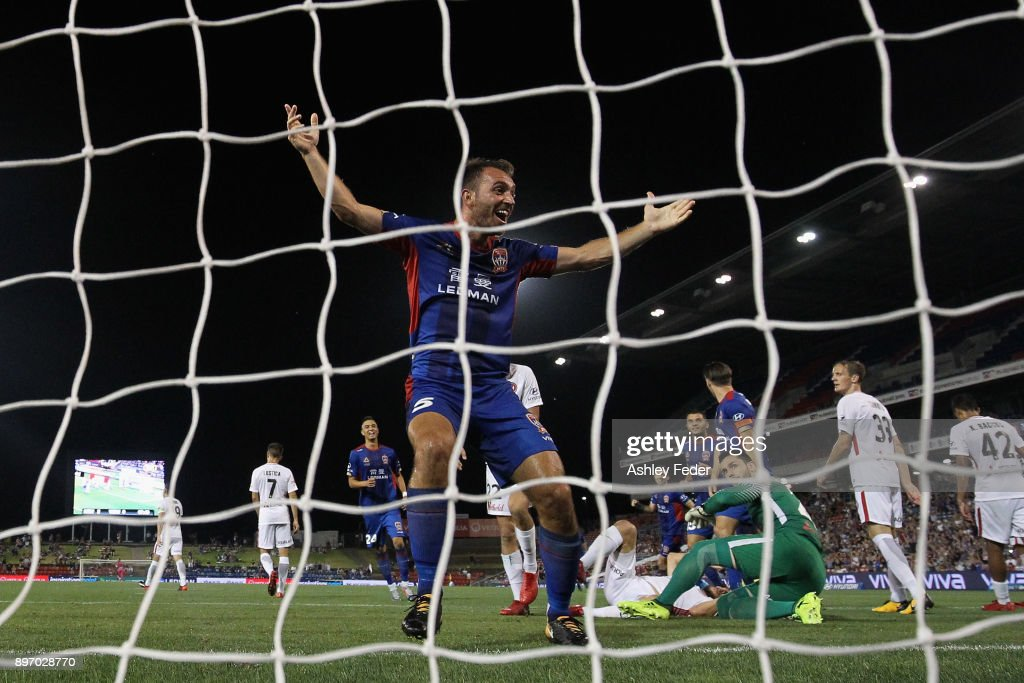 Benjamin Kantarovski of the Jets celebrates his goal during the round 12 A-League match between the Newcastle Jets and the Western Sydney Wanderers at McDonald Jones Stadium on December 22, 2017 in Newcastle, Australia.