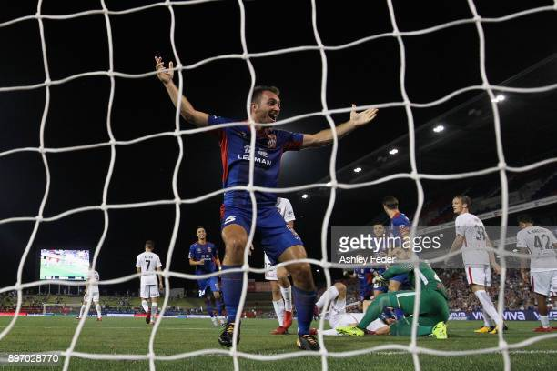 Benjamin Kantarovski of the Jets celebrates his goal during the round 12 ALeague match between the Newcastle Jets and the Western Sydney Wanderers at...