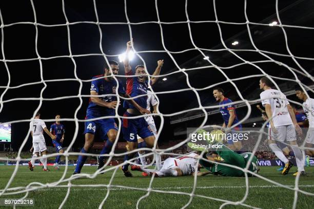 Benjamin Kantarovski of the Jets celebrates his goal with Nikolai ToporStanley during the round 12 ALeague match between the Newcastle Jets and the...