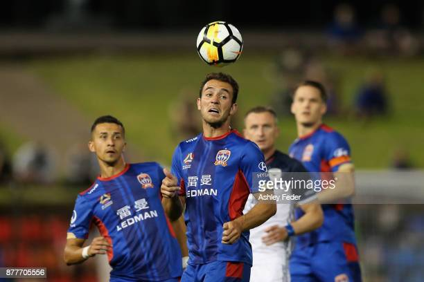 Benjamin Kantarovski of the Jets heads the ball during the round eight ALeague match between the Newcastle Jets and the Melbourne Victory at McDonald...