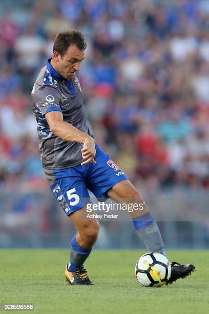 Benjamin Kantarovski of the Jets in action during the round 22 ALeague match between the Newcastle Jets and Sydney FC at McDonald Jones Stadium on...