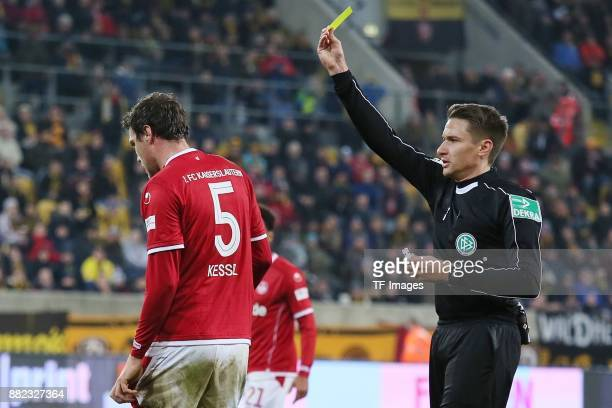 Benjamin Kessel of Kaiserslautern looks on during the Second Bundesliga match between SG Dynamo Dresden and 1 FC Kaiserslautern at DDVStadion on...