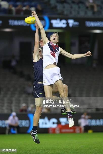 Benjamin King of the Sandringham Dragons jumps for a mark during the TAC Cup Grand Final match between Geelong and Sandringham at Etihad Stadium on...