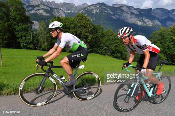 Benjamin King of The United States and Team Dimension Data / Simon Pellaud of Switzerland and Team Switzerland / Mountains / during the 83rd Tour of...