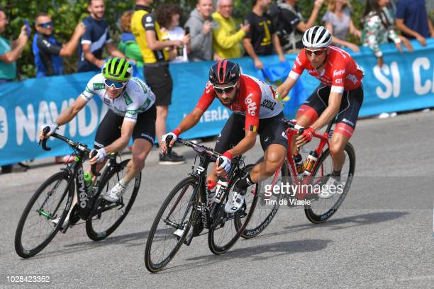 Benjamin King of The United States and Team Dimension Data White Combined Jersey / Thomas De Gendt of Belgium and Team Lotto Soudal / Nicola Conci of...