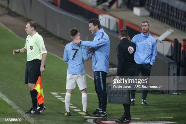 Benjamin Knight is subbed by Gareth Taylor during the FA Youth Cup match between AFC Bournemouth U18 and Manchester City U18 at Vitality Stadium on...