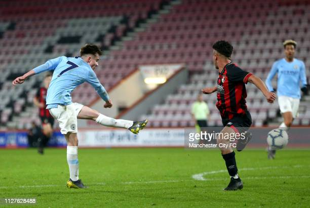 Benjamin Knight of Manchester City scores his team's fourth goal during the FA Youth Cup 6th Round match between AFC Bournemouth and Manchester City...