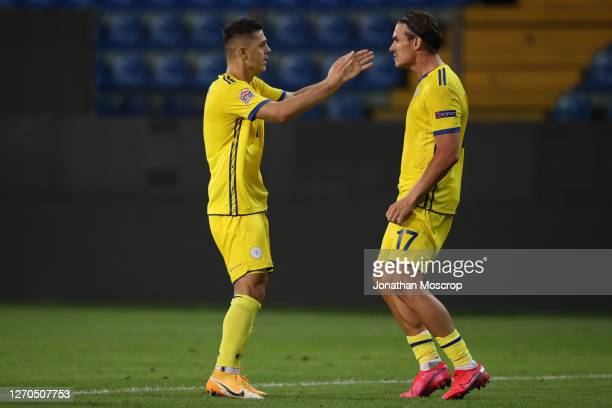 Benjamin Kololli of Kosovo celebrates with team mate Milot Rashica after scoring to level the game at 1-1 during the UEFA Nations League group stage...