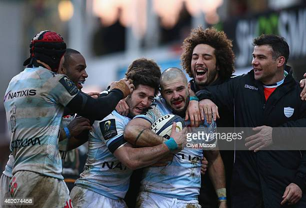 Benjamin Lapeyre of Racing Metro 92 dcelebrates his try during the European Rugby Champions Cup match between Northampton Saints and Racing Metro 92...