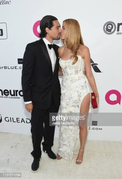Benjamin Larretche and Petra Nemcová attend the 27th annual Elton John AIDS Foundation Academy Awards Viewing Party sponsored by IMDb and Neuro...