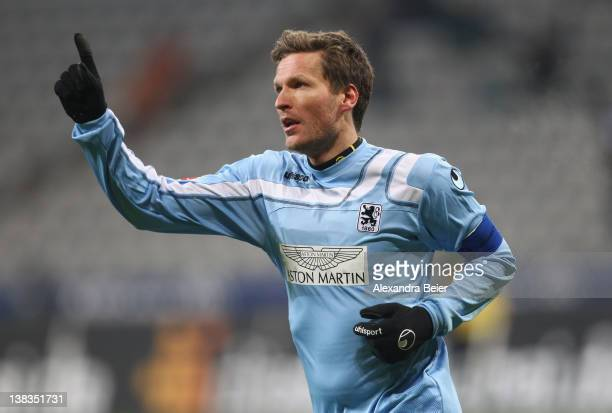 Benjamin Lauth of 1860 Muenchen celebrates his second goal during the German second league match between 1860 Muenchen and Energie Cottbus at Allianz...
