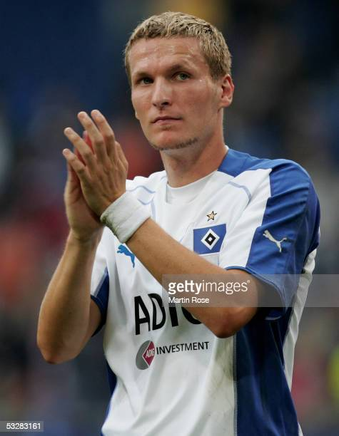 Benjamin Lauth of Hamburg celebrates winning after the UEFA Intertoto Cup third round match between Hamburger SV and DU Leiria at the AOL Arena on...