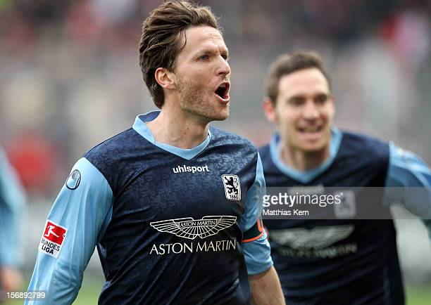Benjamin Lauth of Muenchen jubilates after scoring the third goal during the Second Bundesliga match between 1.FC Union Berlin and TSV 1860 Muenchen...