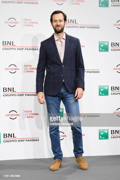 """Benjamin Lavernhe attends the photocall of the movie """"Le Discours"""" during the 15th Rome Film Festival on October 19, 2020 in Rome, Italy."""