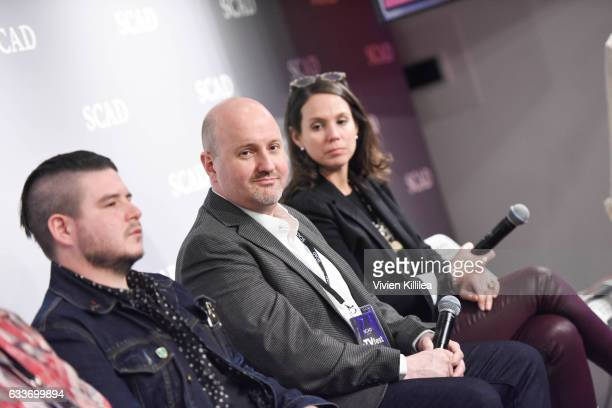 Benjamin Lebovitz Freddy James and Jaclyn Cannon speak at The Near Future of Media panel during Day Two of the aTVfest 2017 presented by SCAD on...