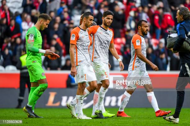 Benjamin Lecomte Ellyes Skhiri Pedro Felipe Teodosio Mendes and Hilton of Montpellier during the Ligue 1 match between Lille and Montpellier at Stade...