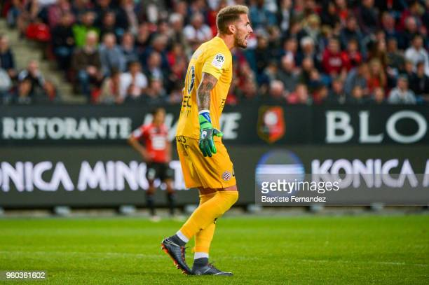 Benjamin Lecomte of Montpellier during the Ligue 1 match between Stade Rennes and Montpellier Herault SC at Roazhon Park on May 19 2018 in Rennes