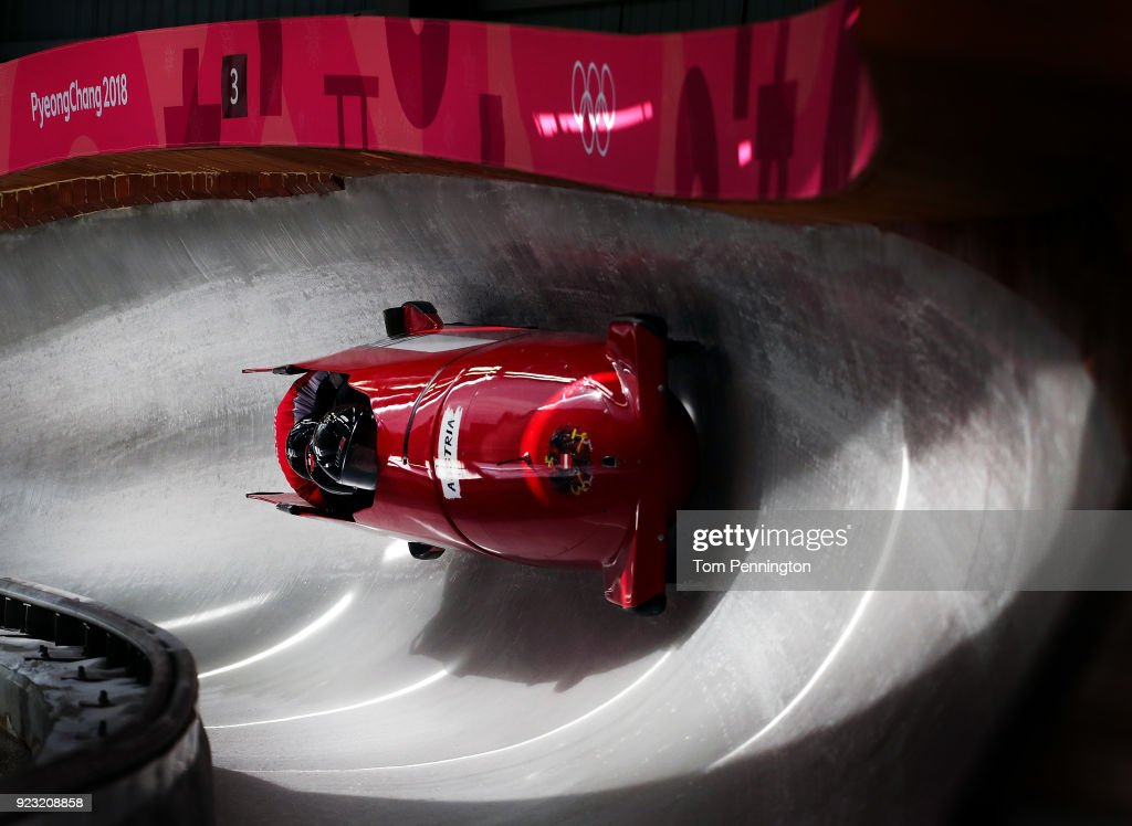 Benjamin Maier of Austria pilots his sled during 4-man Bobsleigh training on day 14 of the Pyeongchang 2018 Winter Olympics on February 23, 2018 in Pyeongchang-gun, South Korea.