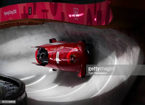 Benjamin Maier of Austria pilots his sled during 4man Bobsleigh training on day 14 of the Pyeongchang 2018 Winter Olympics on February 23 2018 in...