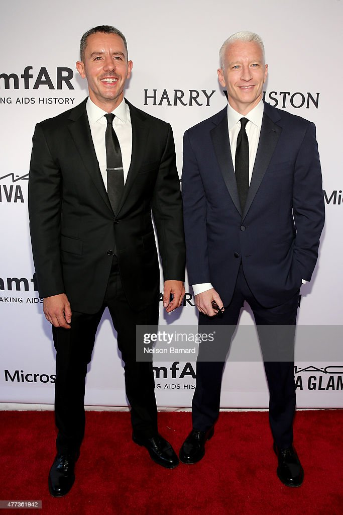 Benjamin Maisani and Anderson Cooper attend the 2015 amfAR Inspiration Gala New York at Spring Studios on June 16, 2015 in New York City.