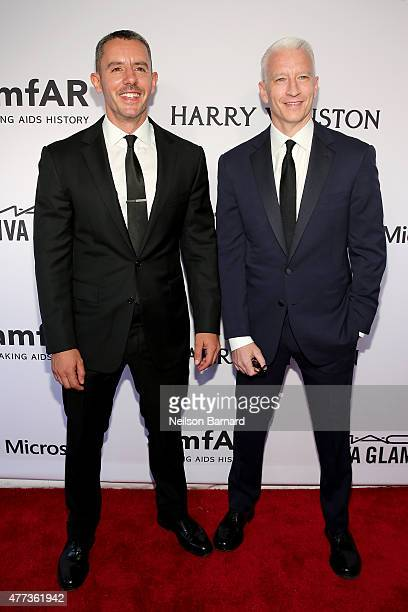 Benjamin Maisani and Anderson Cooper attend the 2015 amfAR Inspiration Gala New York at Spring Studios on June 16 2015 in New York City