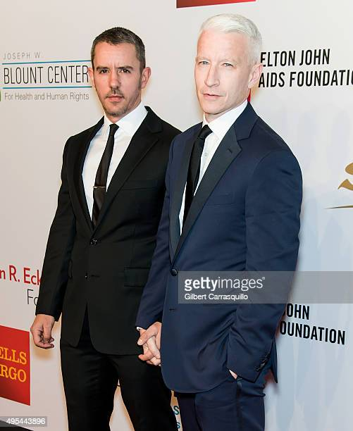 Benjamin Maisani and Journalist Anderson Cooper attend Elton John AIDS Foundation's 14th Annual An Enduring Vision Benefit at Cipriani Wall Street on...