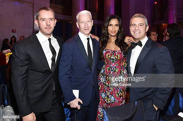 Benjamin Maisani journalist Anderson Cooper Padma Lakshmi and television host Andy Cohen attend Elton John AIDS Foundation's 14th Annual An Enduring...