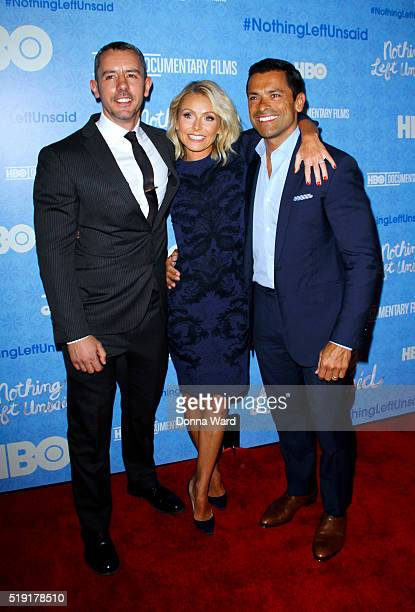 Benjamin Maisani Kelly Ripa and Mark Consuelos attend the Nothing Left Unsaid premiere at Time Warner Center on April 4 2016 in New York City