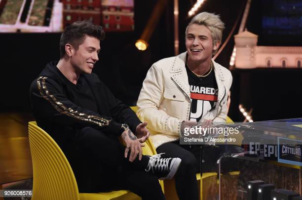 Benjamin Mascolo and Federico Rossi known as Benji Fede attend 'E Poi C'e' Cattelan Tv Show' on March 1 2018 in Milan Italy