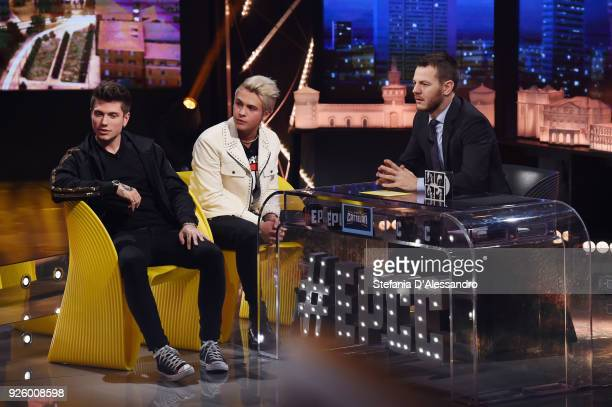 Benjamin Mascolo Federico Rossi known as Benji Fede and Alessandro Cattelan attend 'E Poi C'e' Cattelan Tv Show' on March 1 2018 in Milan Italy
