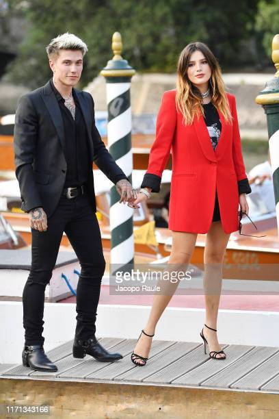 Benjamin Mascolo knowns as Benji and Bella Thorne arrive at the 76th Venice Film Festival on August 31, 2019 in Venice, Italy.