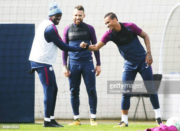 Benjamin Mendy and Danilo at Manchester City Football Academy on September 19 2017 in Manchester England