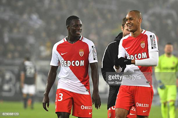 Benjamin Mendy and Fabinho of Monaco during the French Ligue 1 match between Bordeaux and Monaco at Nouveau Stade de Bordeaux on December 10 2016 in...