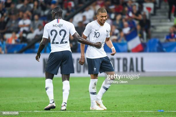 Benjamin Mendy and Kylian Mbappe of France during the International Friendly match between France and Italy at Allianz Riviera Stadium on June 1 2018...