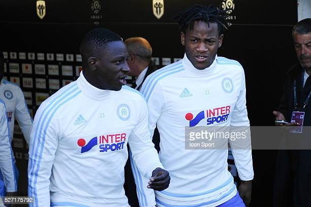 Benjamin Mendy and Michy Batshuayi during the French Ligue 1 match between Angers SCO and Olympique de Marseille on May 1 2016 in Angers France