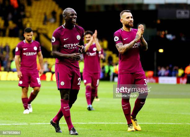 Benjamin Mendy and Nicholas Otamendi during the Premier League match between Watford and Manchester City at Vicarage Road on September 16 2017 in...