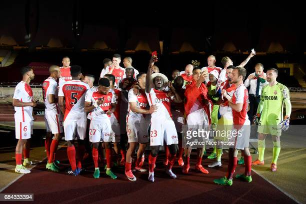 Benjamin Mendy and players of Monaco celebrate winning the Ligue 1 title after the Ligue 1 match between As Monaco and AS Saint Etienne at Stade...
