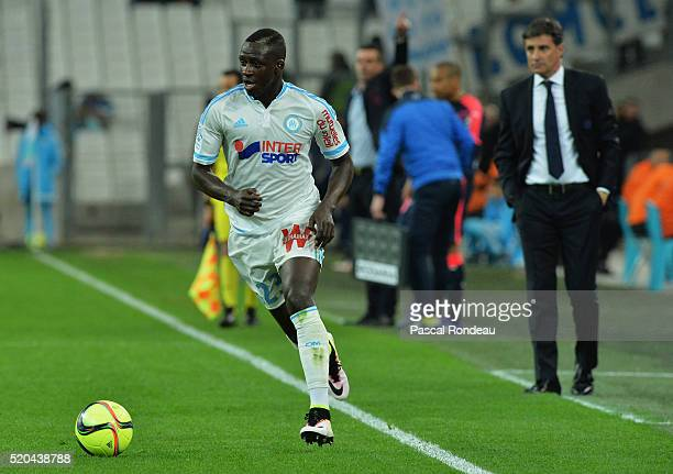 Benjamin Mendy from Marseille in action during the French League 1 match between Olympique de Marseille and FC Girondins de Bordeaux at Stade...
