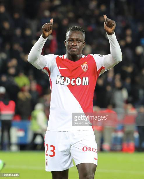 Benjamin Mendy of AS Monaco celebrates after the French League 1 match between Paris SaintGermain and AS Monaco at Parc des Princes on January 29...