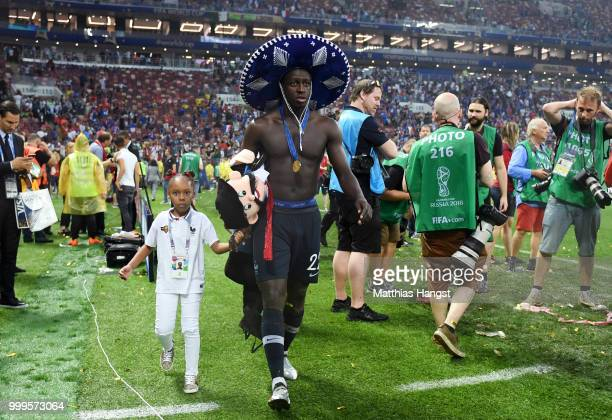 Benjamin Mendy of France celebrates following his sides victory in the 2018 FIFA World Cup Final between France and Croatia at Luzhniki Stadium on...