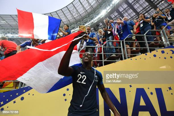 Benjamin Mendy of France celebrates victory following the 2018 FIFA World Cup Final between France and Croatia at Luzhniki Stadium on July 15 2018 in...