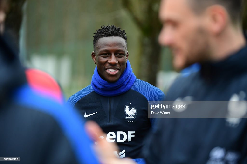 Benjamin Mendy of France during the trainig session of the soccer french national team at Centre National du Football on March 20, 2017 in Clairefontaine, France.