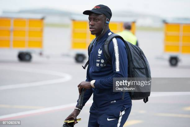 Benjamin Mendy of France football team player arrives to compete in the 2018 World Cup at Sheremetyevo on June 10 2018 in Moscow Russia