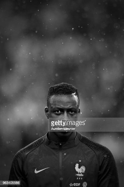 Benjamin Mendy of France reacts during the National Anthem before the international friendly match between France and Republic of Ireland at Stade de...