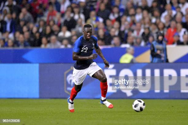 Benjamin Mendy of France runs with the ball during the international friendly match between France and Republic of Ireland at Stade de France on May...
